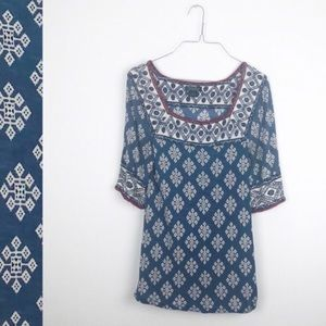 The Lucky Brand Patterned Top Red White Blue XS
